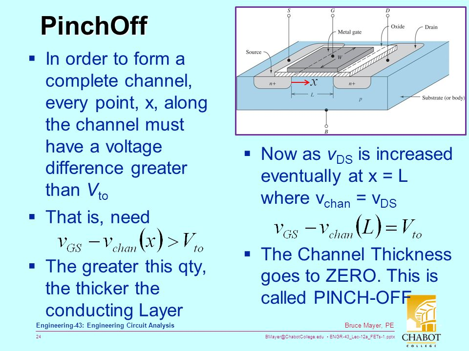 PinchOff In order to form a complete channel, every point, x, along the channel must have a voltage difference greater than Vto.