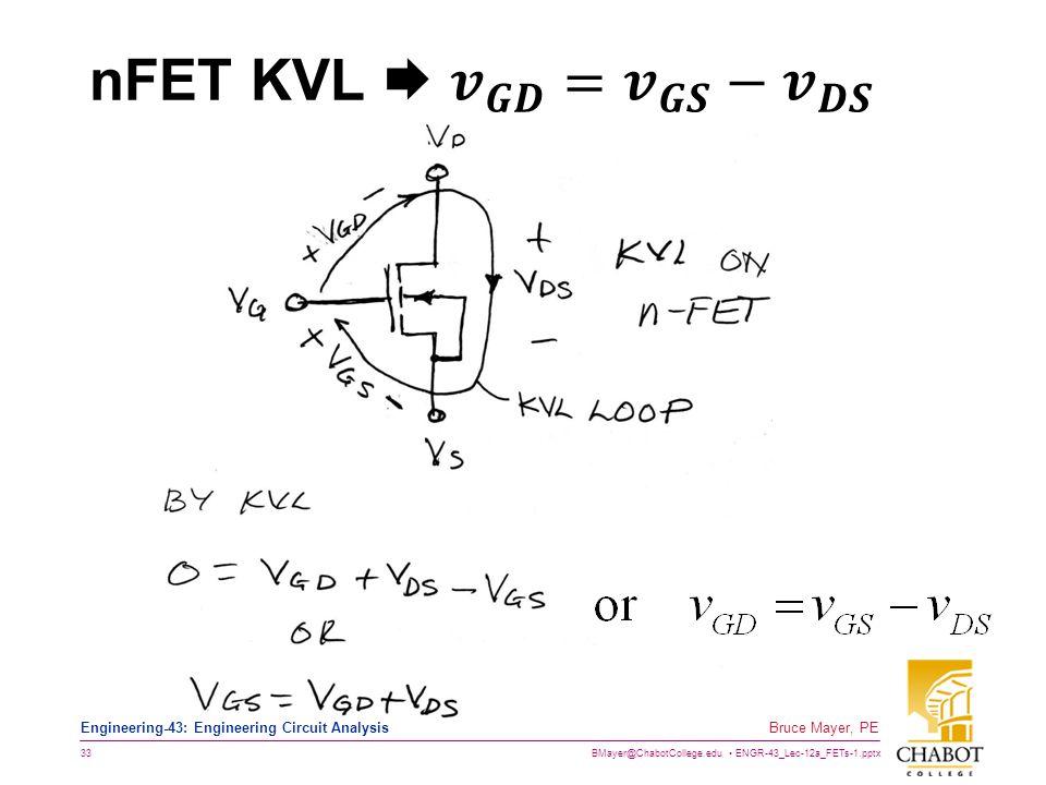 nFET KVL  𝒗 𝑮𝑫 = 𝒗 𝑮𝑺 − 𝒗 𝑫𝑺