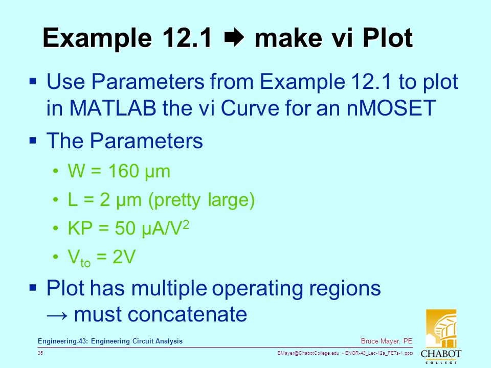 Example 12.1  make vi Plot Use Parameters from Example 12.1 to plot in MATLAB the vi Curve for an nMOSET.