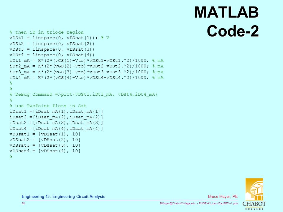 MATLAB Code-2 % then iD in triode region