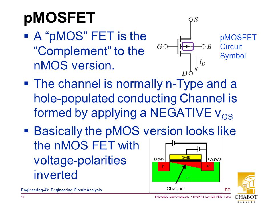 pMOSFET A pMOS FET is the Complement to the nMOS version.