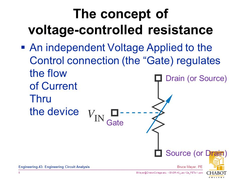 The concept of voltage-controlled resistance