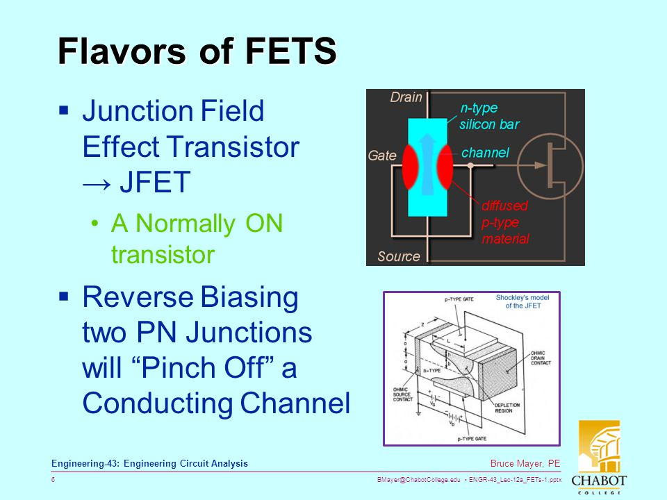 Flavors of FETS Junction Field Effect Transistor → JFET