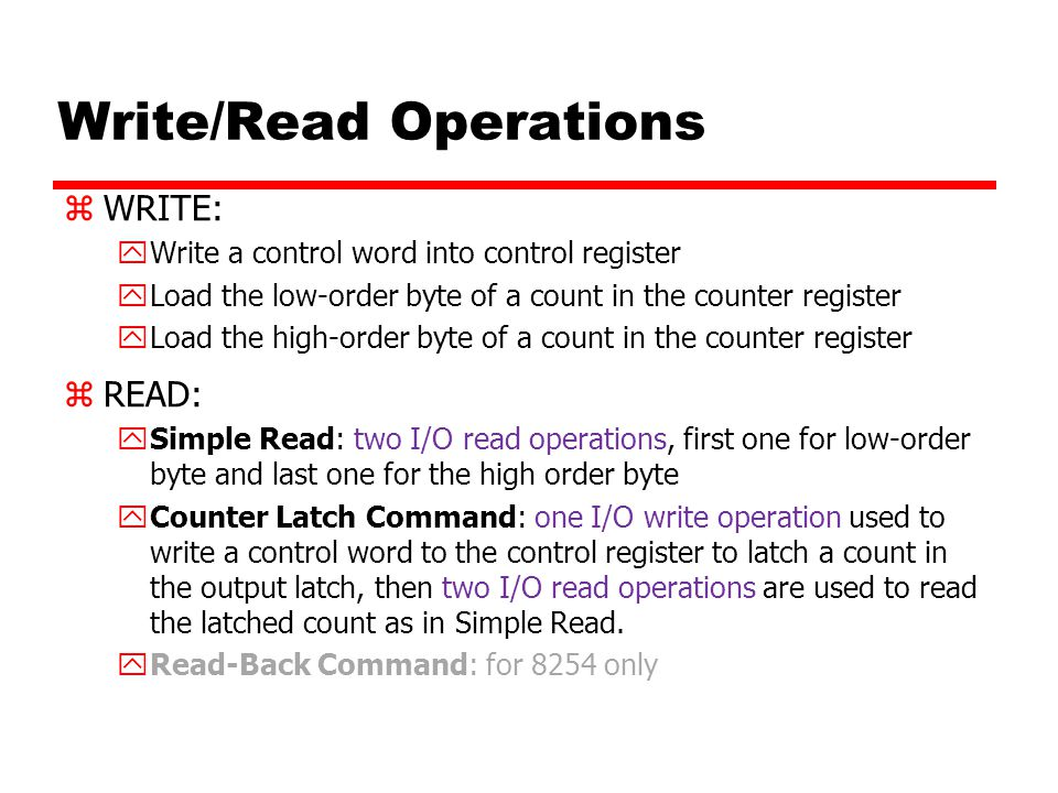 Write/Read Operations
