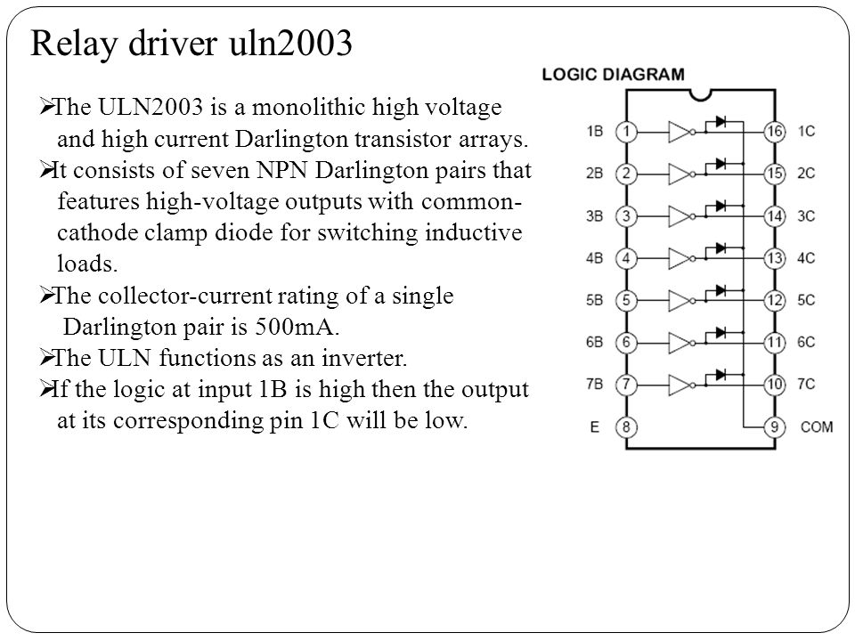 Relay driver uln2003 The ULN2003 is a monolithic high voltage