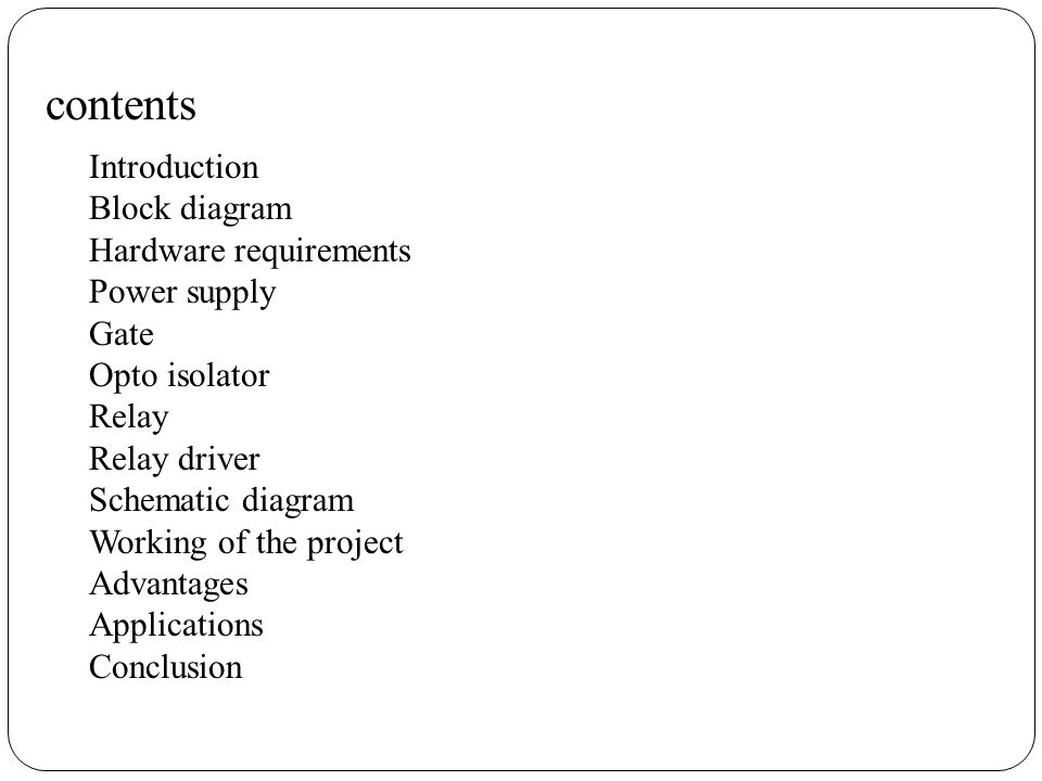 contents Introduction Block diagram Hardware requirements Power supply