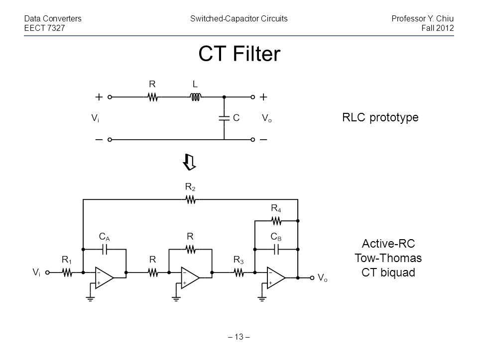 CT Filter  RLC prototype Active-RC Tow-Thomas CT biquad