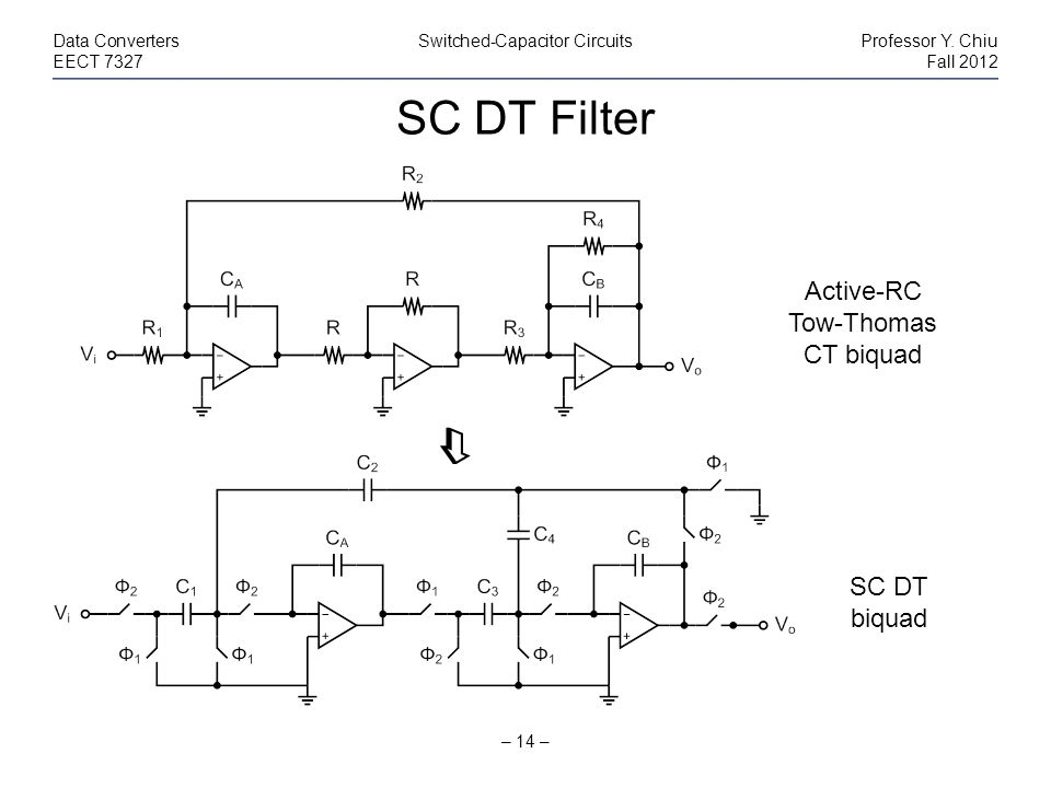 SC DT Filter  Active-RC Tow-Thomas CT biquad SC DT biquad