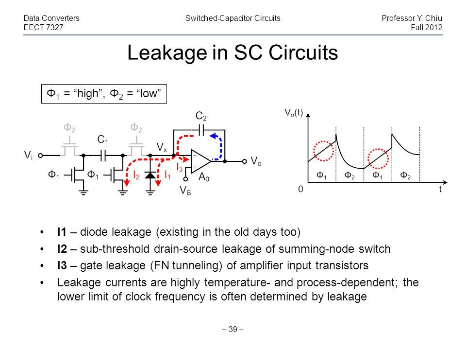 Leakage in SC Circuits Φ1 = high , Φ2 = low