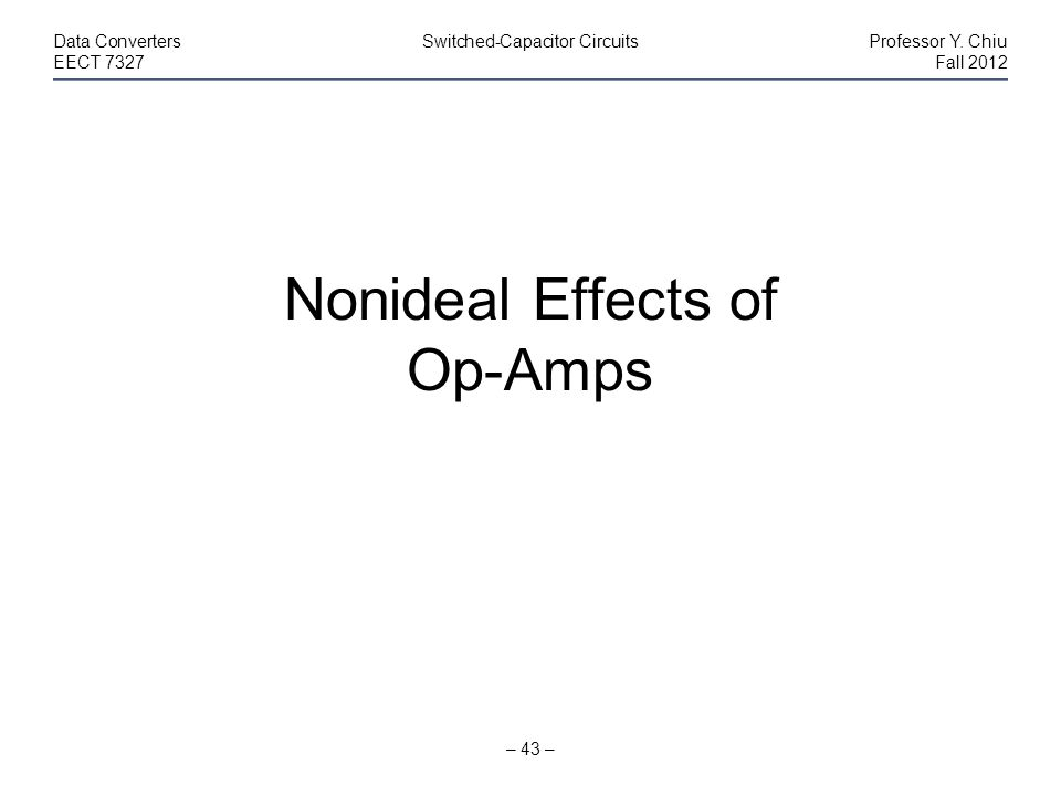 Nonideal Effects of Op-Amps