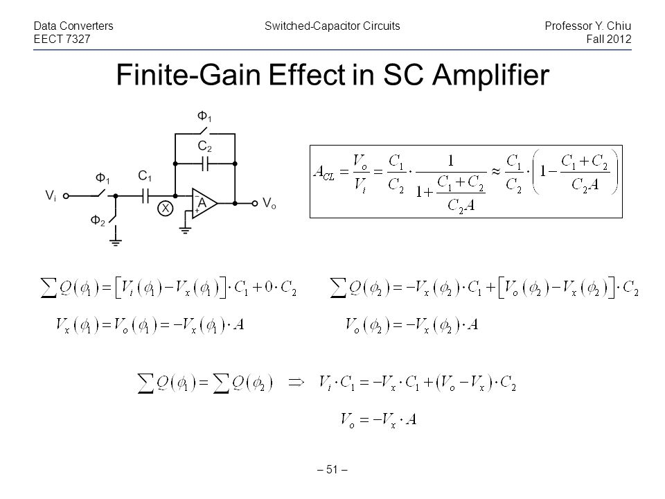 Finite-Gain Effect in SC Amplifier