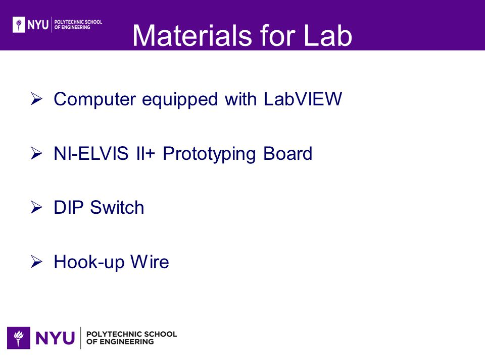 Materials for Lab Computer equipped with LabVIEW