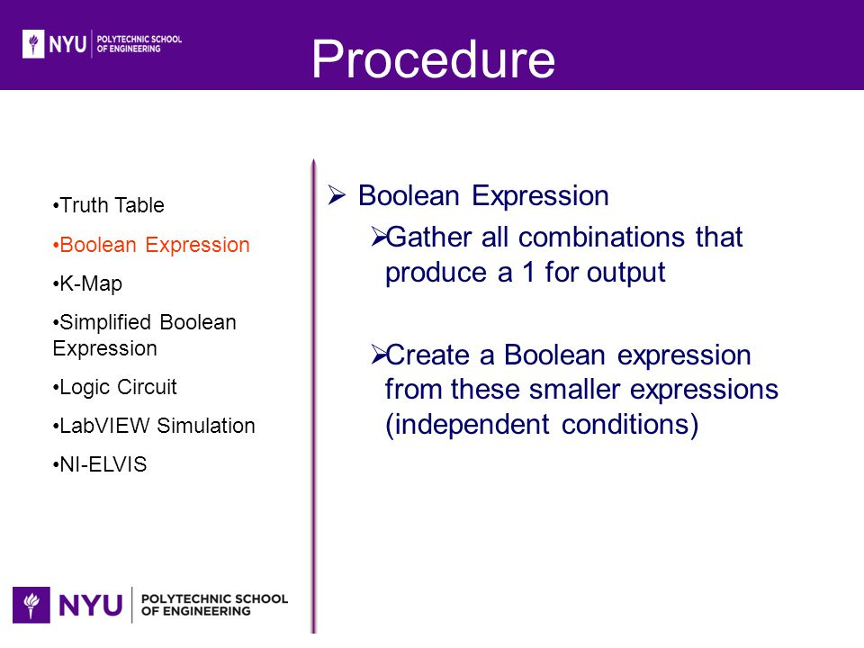 Procedure Boolean Expression
