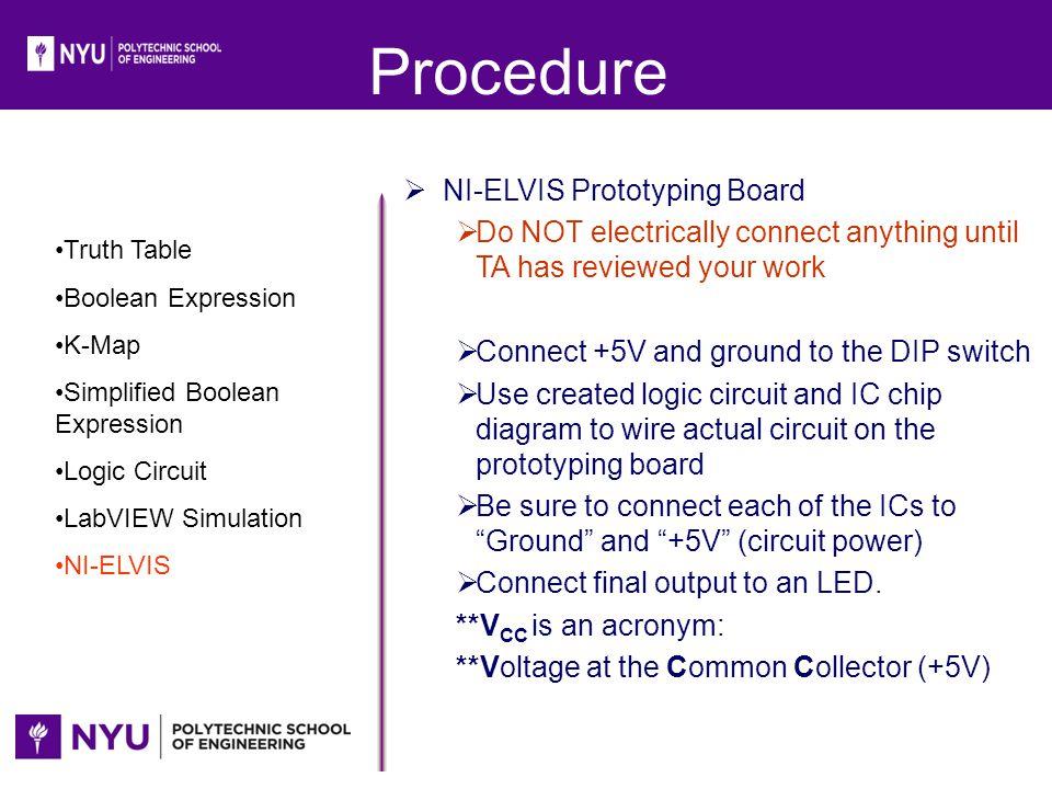 Procedure NI-ELVIS Prototyping Board