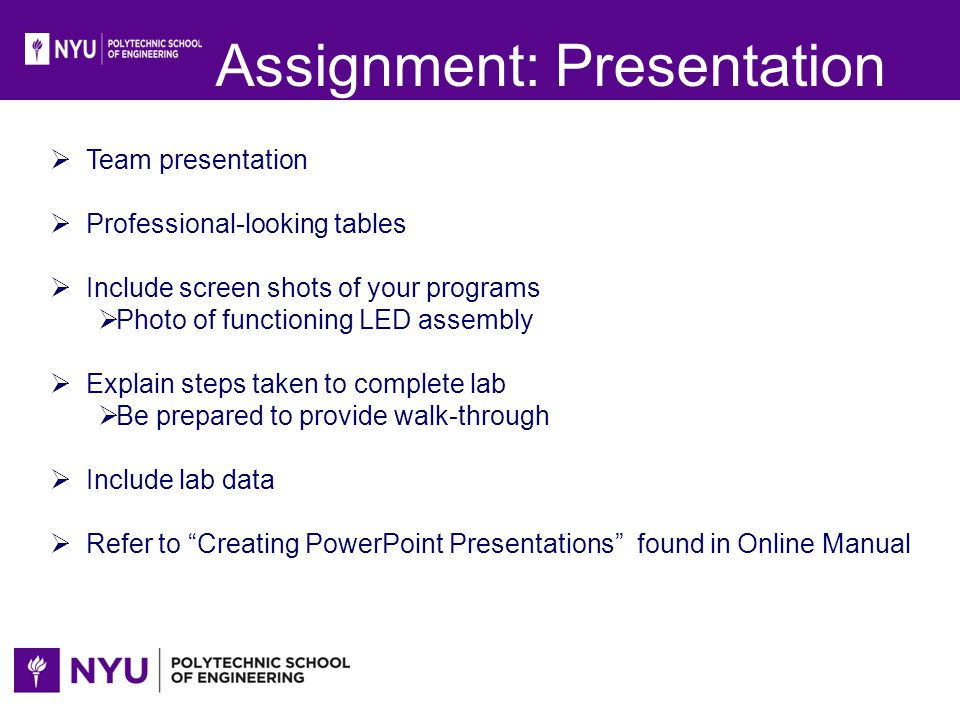 guide for assignment presentation Presenting information clearly and effectively is key to getting your message across today, presentation skills are required in almost every field.