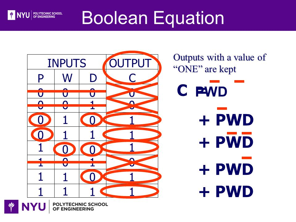 Boolean Equation C = + PWD + PWD + PWD + PWD PWD INPUTS OUTPUT P W D C