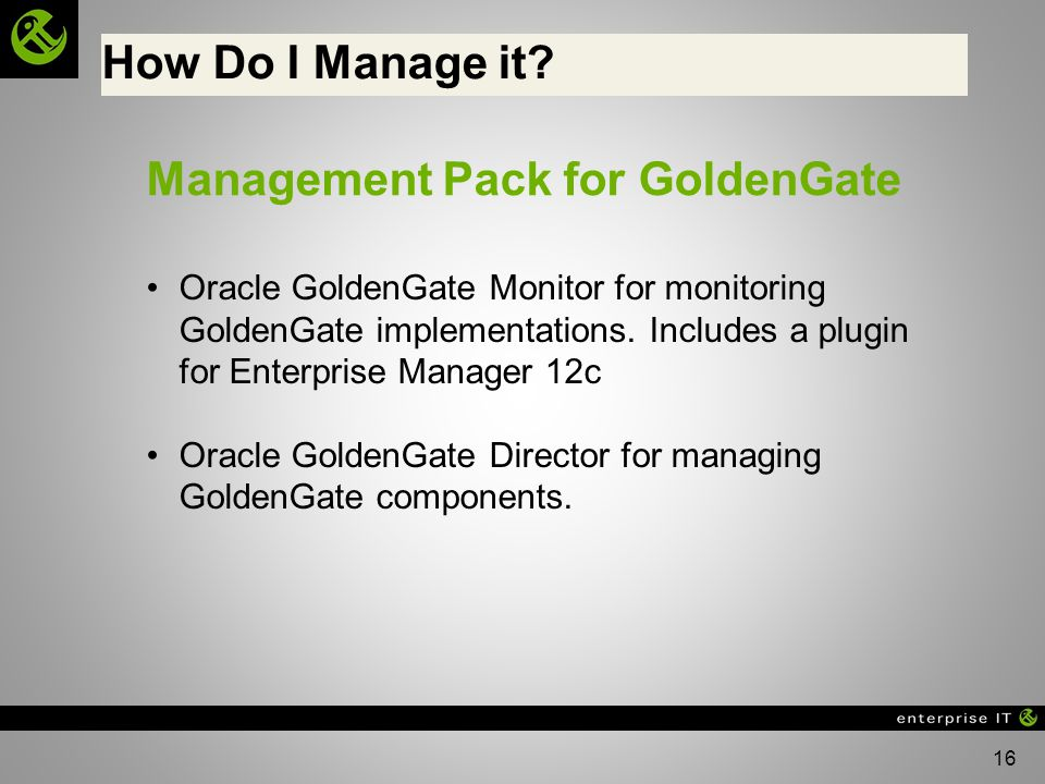 Management Pack for GoldenGate