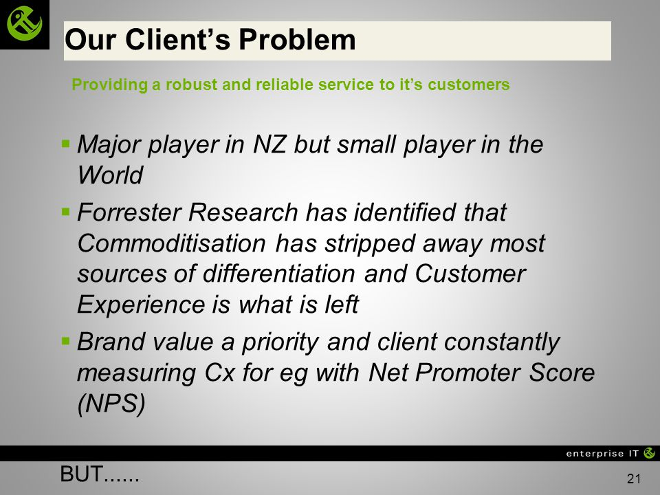 Our Client's Problem Major player in NZ but small player in the World