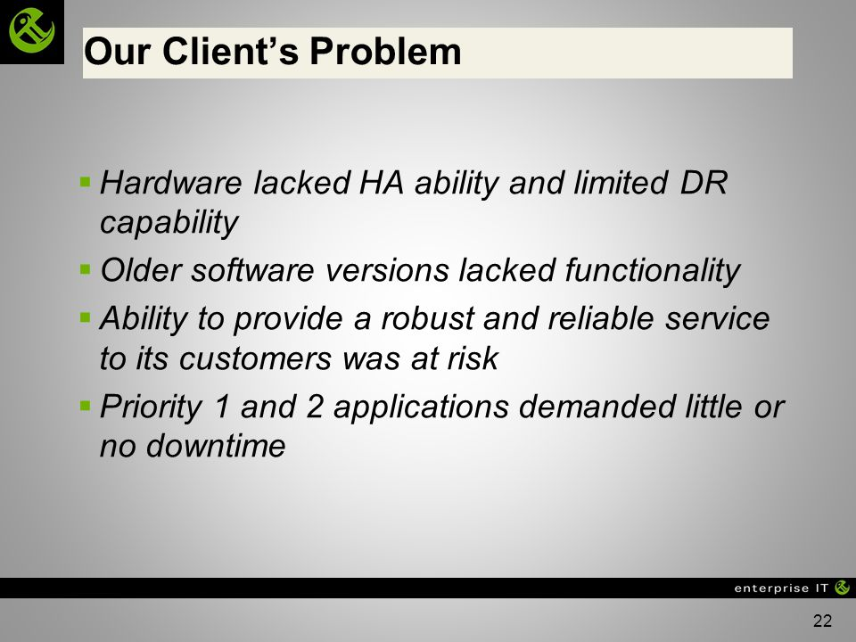 Our Client's Problem Hardware lacked HA ability and limited DR capability. Older software versions lacked functionality.