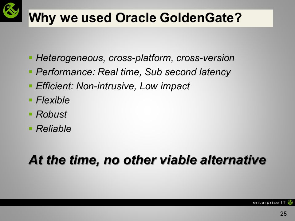 Why we used Oracle GoldenGate