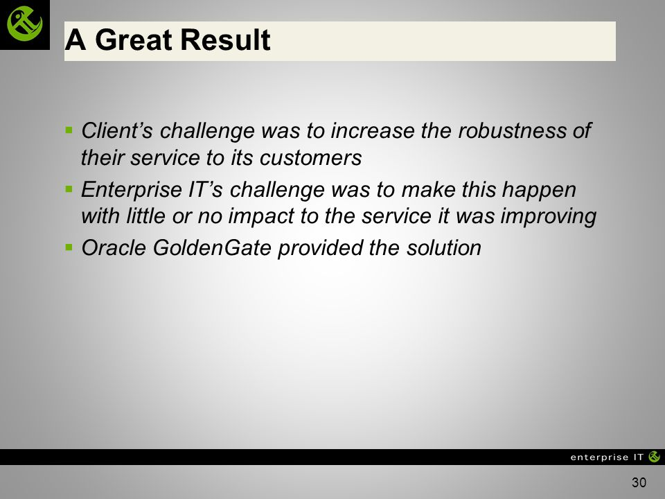 A Great Result Client's challenge was to increase the robustness of their service to its customers.