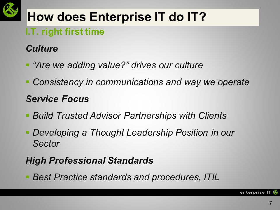 How does Enterprise IT do IT