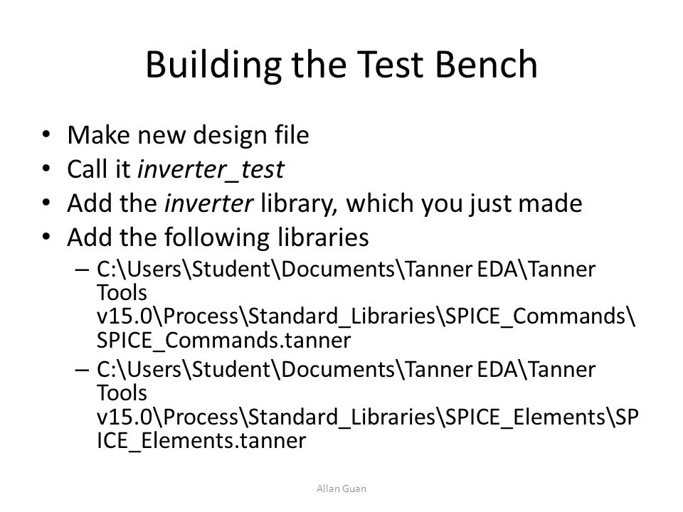 Building the Test Bench