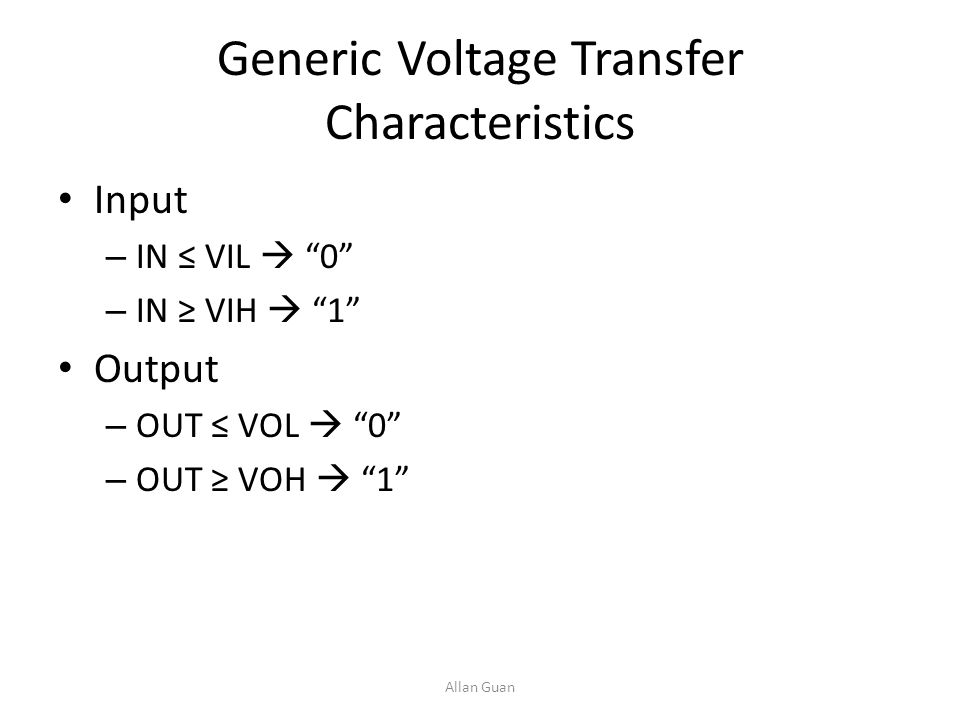 Generic Voltage Transfer Characteristics