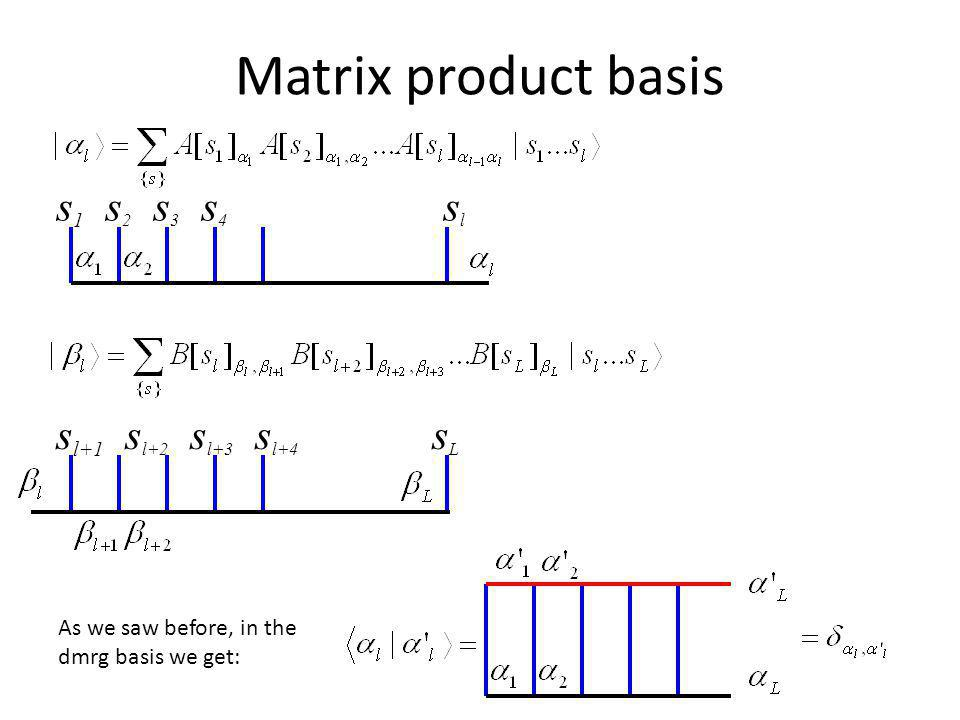 Matrix product basis s1 s2 s3 s4 sl sl+1 sl+2 sl+3 sl+4 sL