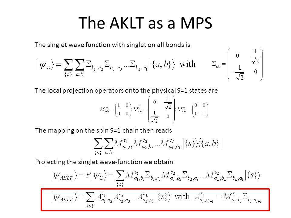 The AKLT as a MPS The singlet wave function with singlet on all bonds is. The local projection operators onto the physical S=1 states are.