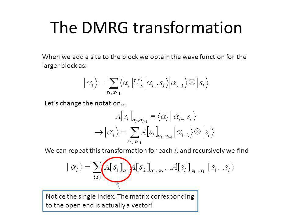 The DMRG transformation