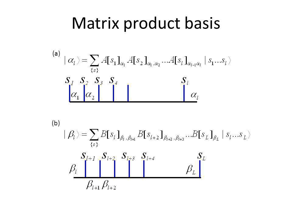 Matrix product basis (a) s1 s2 s3 s4 sl. (b)
