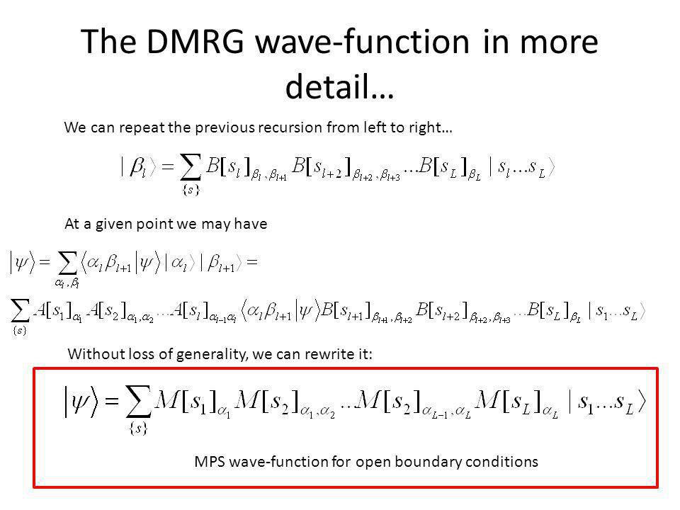 The DMRG wave-function in more detail…