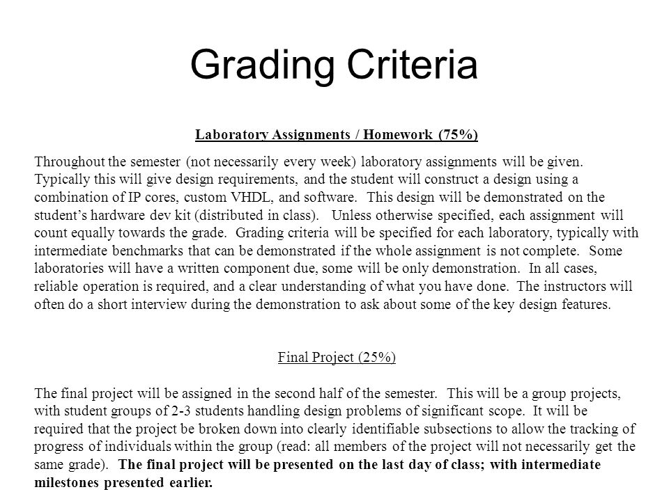 Laboratory Assignments / Homework (75%)