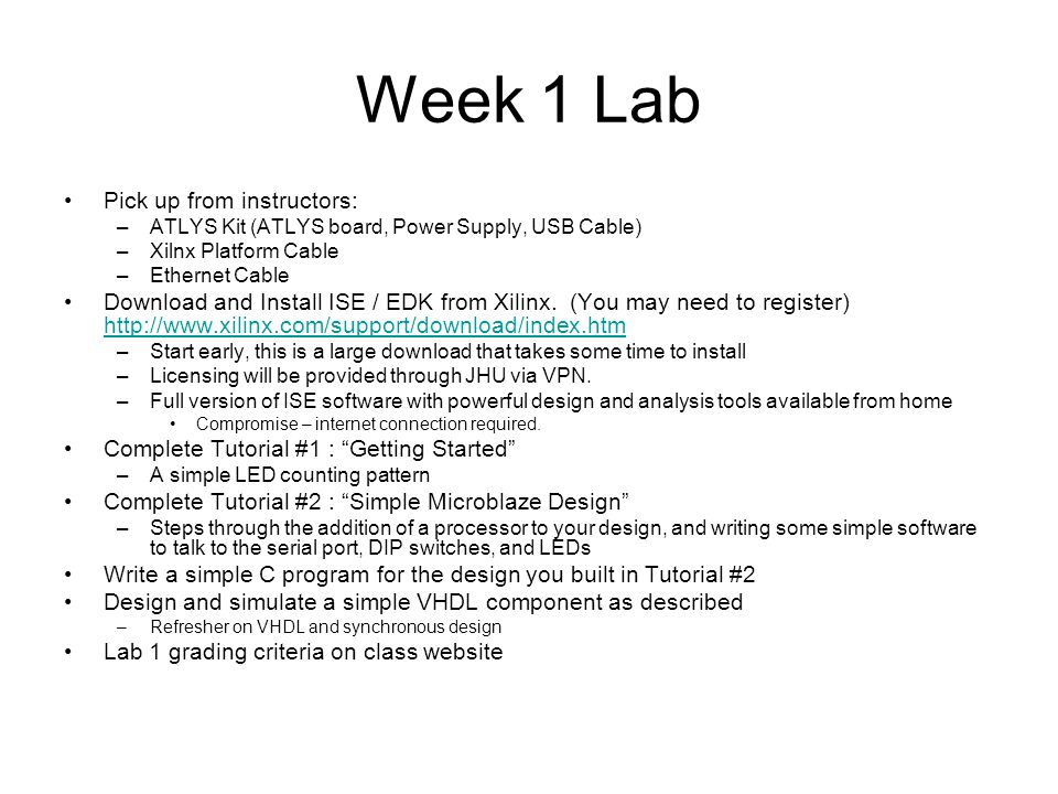 Week 1 Lab Pick up from instructors: