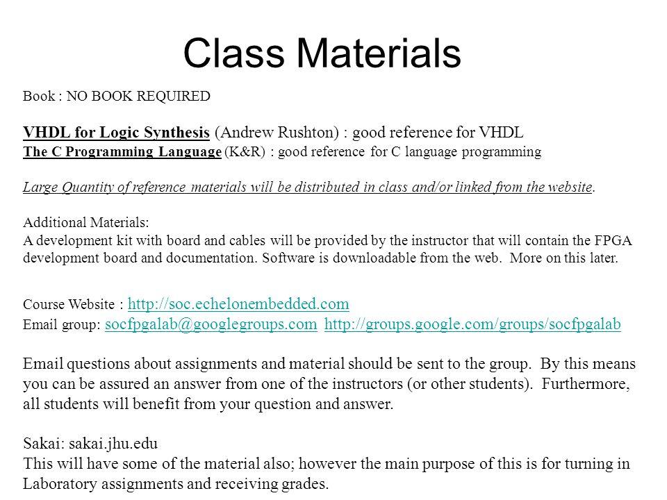 Class Materials Course Website : http://soc.echelonembedded.com