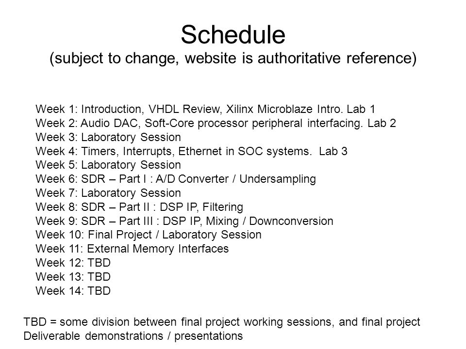Schedule (subject to change, website is authoritative reference)
