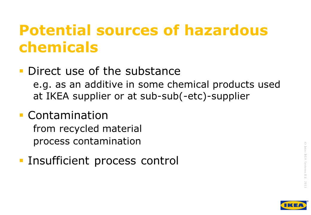 Potential sources of hazardous chemicals