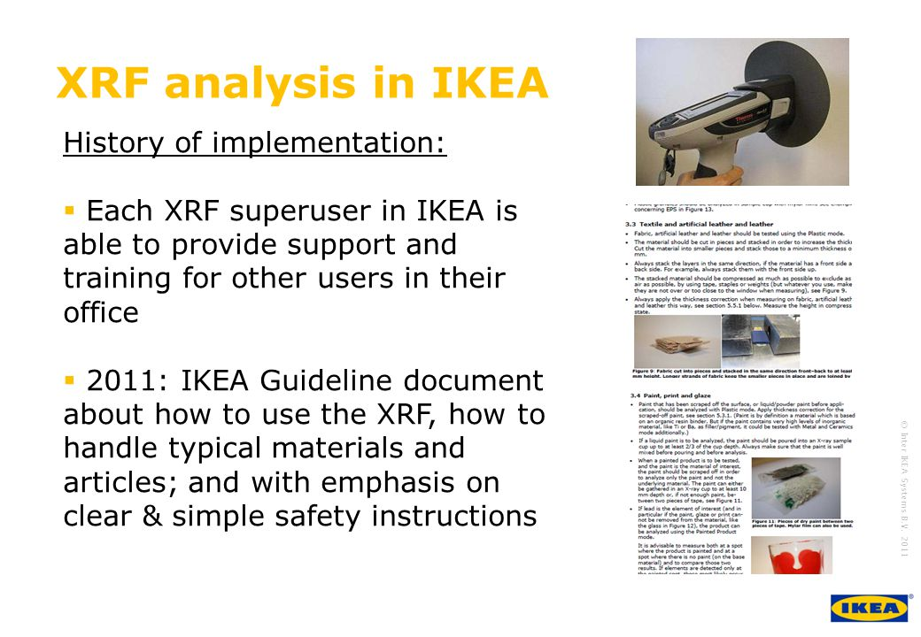 XRF analysis in IKEA History of implementation:
