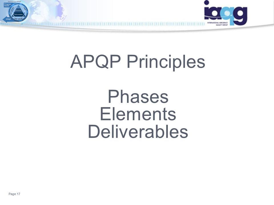 APQP Principles Phases Elements Deliverables