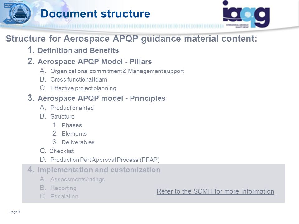 Document structure Structure for Aerospace APQP guidance material content: Definition and Benefits.