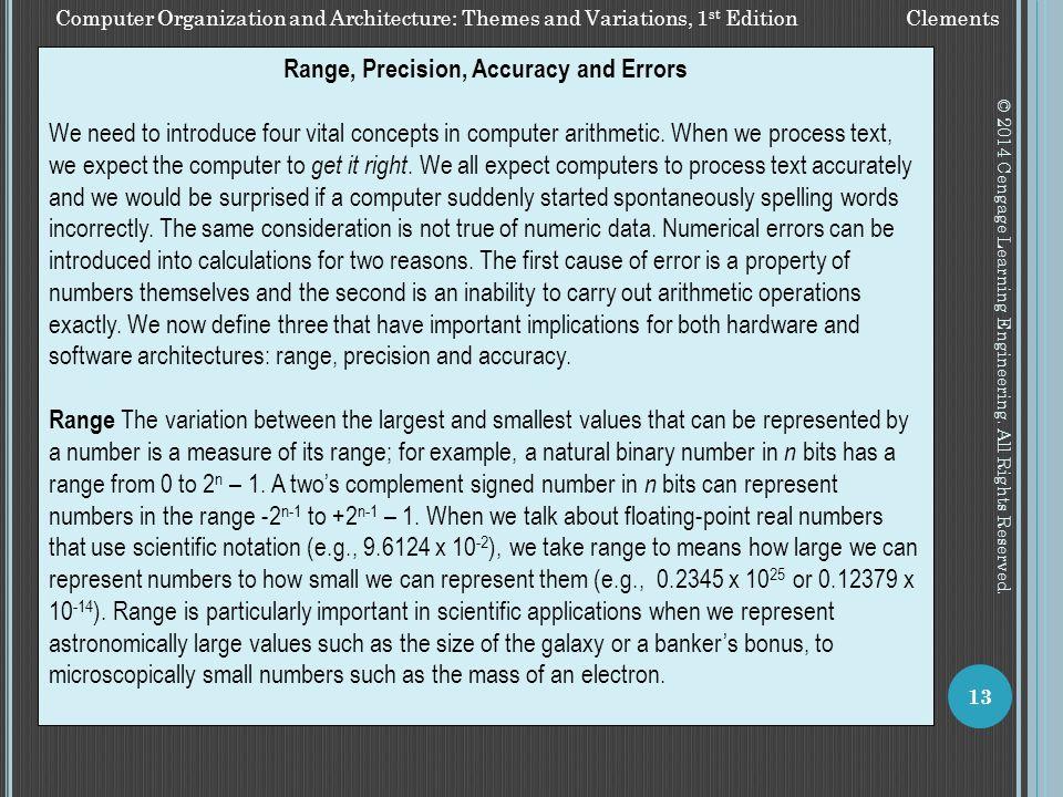 Range, Precision, Accuracy and Errors