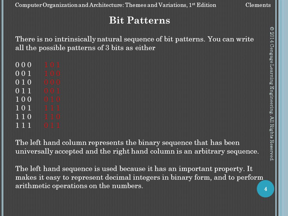 Bit Patterns There is no intrinsically natural sequence of bit patterns. You can write all the possible patterns of 3 bits as either.