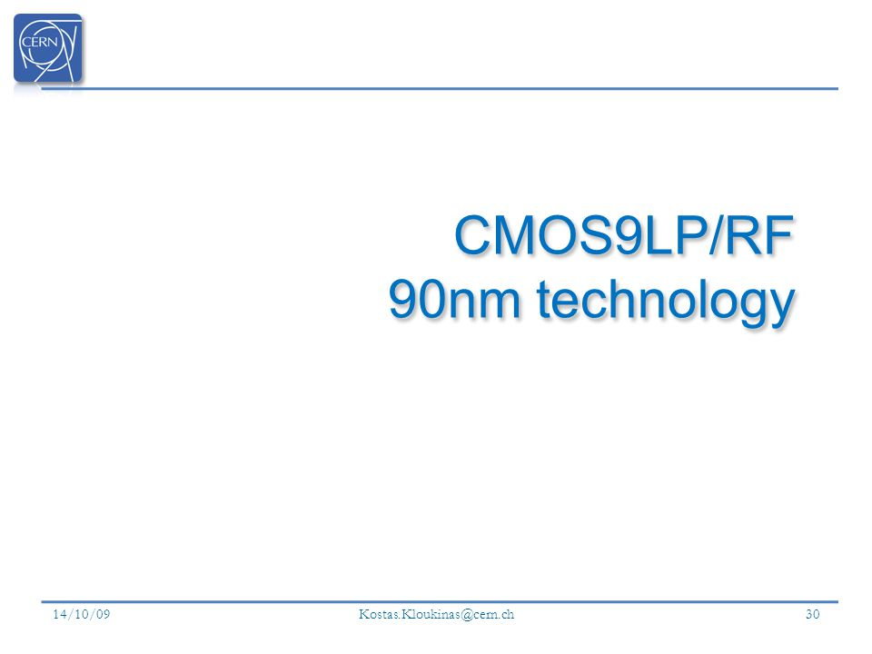 CMOS9LP/RF 90nm technology