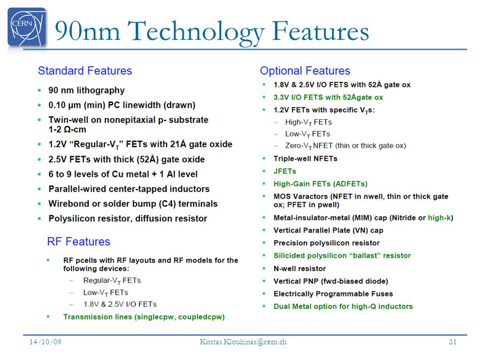 90nm Technology Features