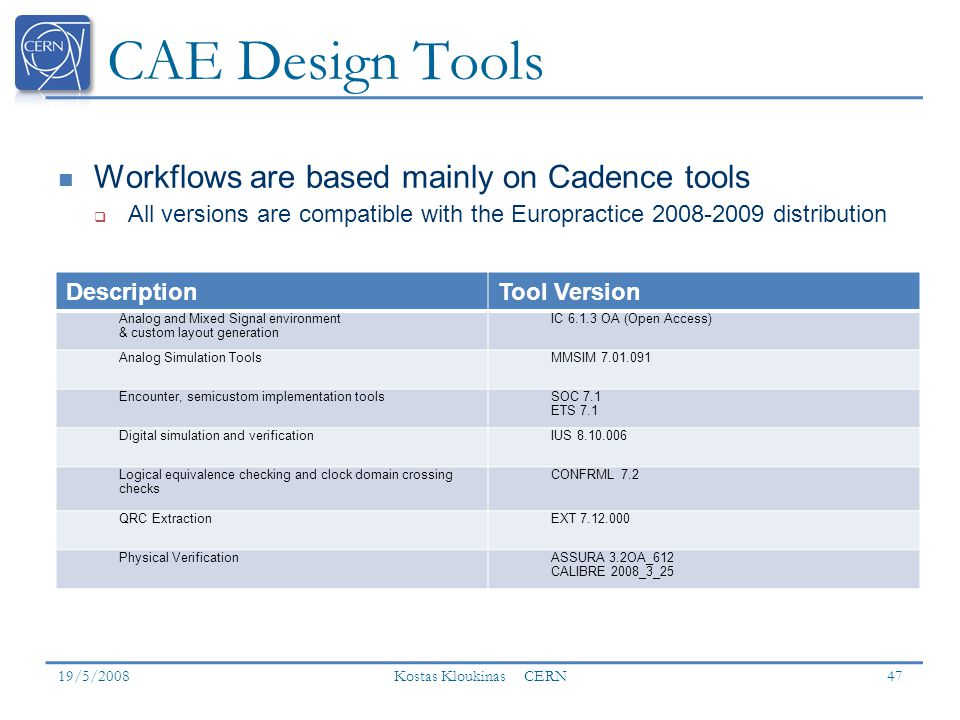 CAE Design Tools Workflows are based mainly on Cadence tools