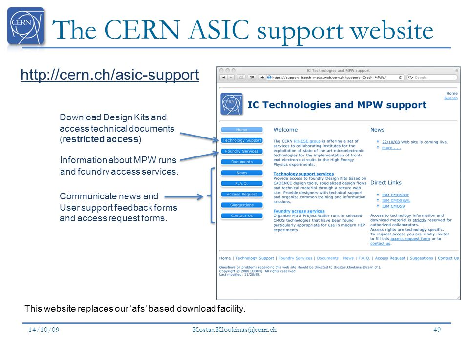 The CERN ASIC support website