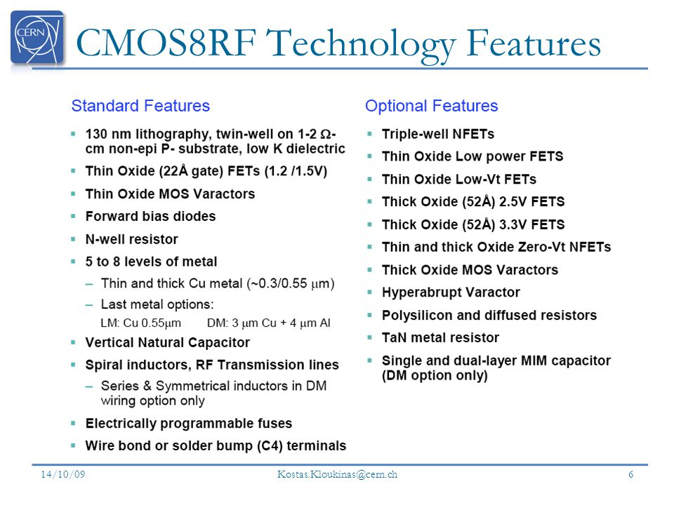 CMOS8RF Technology Features