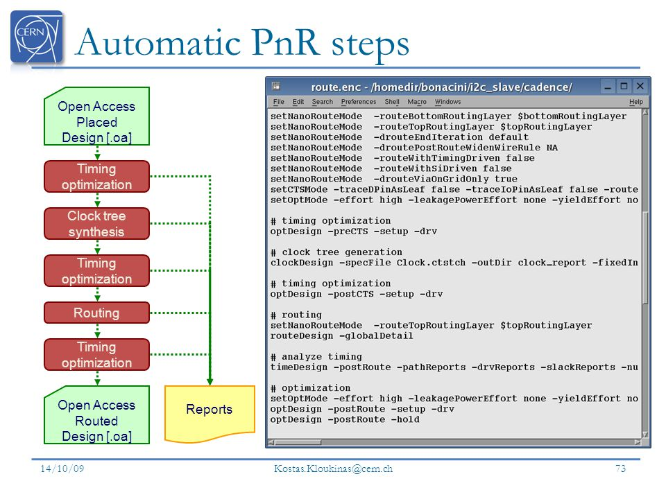 Automatic PnR steps Open Access Placed Design [.oa]
