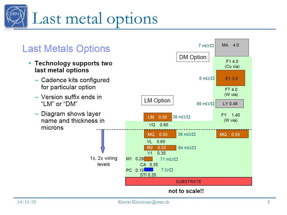 Last metal options 14/10/09 Kostas.Kloukinas@cern.ch